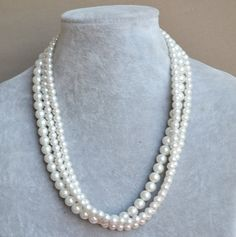 ivory pearl NecklaceGlass Pearl Necklace Triple by glasspearlstore, $15.00