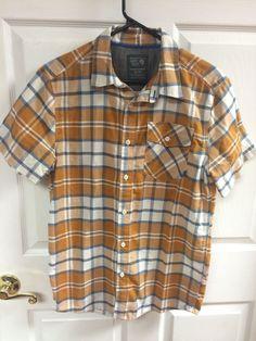 Mountain Hard Wear Orange Blue Plaid Short Sleeve Button Up Shirt Size Small #MountainHardWear #ButtonFront