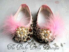 Baby Girl Crib Shoes,/Leopard Fancy Baby Booties,Pink leopard baby shoes.Rhinestone baby girl shoes.. $18.95, via Etsy.
