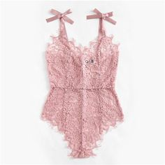 Shop Ribbon Tie Shoulder See Though Floral Lace Bodysuit online. SheIn offers Ribbon Tie Shoulder See Though Floral Lace Bodysuit & more to fit your fashionable needs. Lingerie Xxl, Lingerie Rosa, Lingerie Fine, Jolie Lingerie, Lingerie Outfits, Pretty Lingerie, Beautiful Lingerie, Women Lingerie, Luxury Lingerie