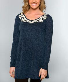 Loving this Navy Crochet Caroline Tunic on #zulily! #zulilyfinds