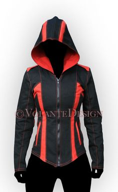 volantedesign:  Women's Modern Assassin Armor. This is the denim Modern Assassin Armor, women's style, in black/red. This particular version is intended for use as costuming in Assassin's Creed: Artefact 2 as well, for the 2nd of the 3 main characters. Since the characters will be active in martial arts and acrobatic stunts, we designed special gussets for increased range of motion in the arms.