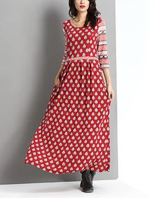Another great find on #zulily! Red Boteh Maxi Dress by Reborn Collection #zulilyfinds