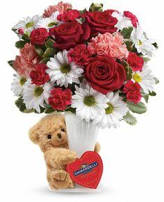 Teleflora's Send a Hug Bear Your Heart Bouquet, #Valentine's Day flowers 2014.