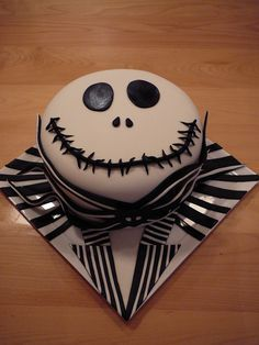 My husband loves the movie A nightmare before Christmas! That is why I made him Jack. This is a chocolate cake with a layer of vanilla cake with salty caramel filling covered with chocolate ganache than with fondant. All details are fondant. He loves his cake and I love him!!!