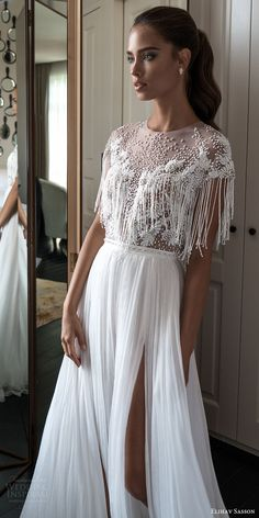 elihav sasson spring 2018 bridal jewel neck cap sleeves fringe beaded bodice a line wedding dress (vj 01) slit skirt mv boho -- Elihav Sasson 2018 Wedding Dresses