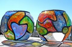 Art: 2 Stained Glass Painted Votive Globes by Artist Diane G. Casey