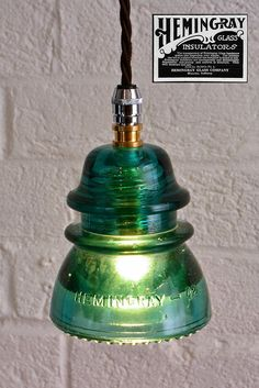 Hemingray 1950s Insulator Light #VintageLamp #RecycledLamp #PendantLamp @idlights