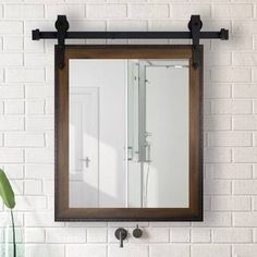 Gracie Oaks 2 Piece Bevier Mirror Set Size: 36 H x 30 W, Finish: Walnut 49821139615203873 Farmhouse Bathroom Mirrors, Modern Bathroom, Bathroom Ideas, Master Bathrooms, Bathroom Designs, Bathroom Organization, Unique Bathroom Mirrors, Bathroom Mirror Makeover, Bathroom Storage