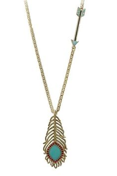 Feather pendant & arrow necklace. by angela
