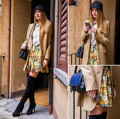 Skirt, H&M Bag, Stella Mc Cartney Coat, Maxmara Cap