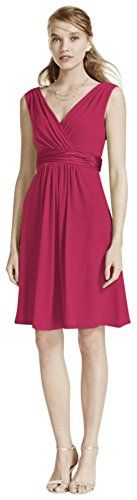 Short Sleeveless Jersey Bridesmaid Dress with Charmeuse Waist Band Style >>> Find out more about the great product at the image link.