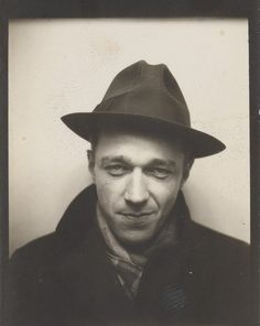 Self-Portrait in Automated Photobooth, 1929, Walker Evans. Photographer renowned for documenting the effects of the Great Depression and capturing everyday people's emotions. Usually his photos are sad and dark.