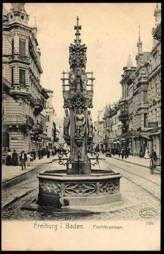 Fischbrunnen auf der KaJo     Der Fischbrunnen auf der Kaiser-Josef-Strasse Postkarte ca. 1910  Diese