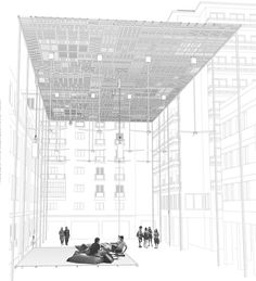 Urban Hall, by Aristide Antonas… Photomontage, Architecture Drawings, Architecture Design, Urban Ideas, Perspective Drawing, Facade Design, Urban Landscape, Design Process, Illustrations