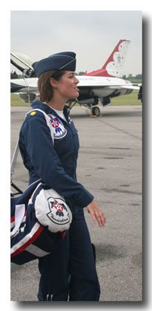 "Major Nicole Malachowski, the first female demonstration pilot on the U.S. Air Force Air Demonstration Squadron ""Thunderbirds"".  She provided air support over Kosovo in 1998 during the Bosnian/Serb conflict and on Election Day in Iraq. Major Malachowski served four months in Operation Iraqi Freedom -  F-15 Strike Eagle fighter."