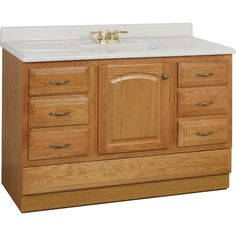 Shop Project Source Oak Traditional Bathroom Vanity (Common: 48-in x 21-in; Actual: 48-in x 21-in) at Lowes.com