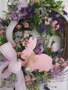 Easter Wreath Front Door Wreath Soft Pinks Lavender by FunFlorals