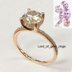 Round Moissanite Engagement Ring Pave Diamond Wedding 14K Rose Gold 7mm,Halo - Lord of Gem Rings - 1