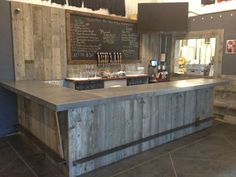 Custom Made Reclaimed Wood Tasting Room, Wall Cladding, Caulk Boards, Industrial Look