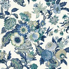 Callaway Cottage Navy Blue Magnolia Branch Wallpaper York Wallcoverings Wallpaper