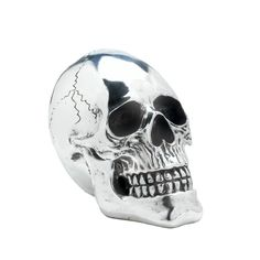This skull is a shining example of wild decor that goes beyond decorating for Halloween. The electroplated silver high-gloss finish really shines with high style and the dark detailing makes it a fun