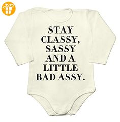 Stay Classy, Sassy And A Little Badassy Baby Long Sleeve Romper Bodysuit Large - Baby bodys baby einteiler baby stampler (*Partner-Link)