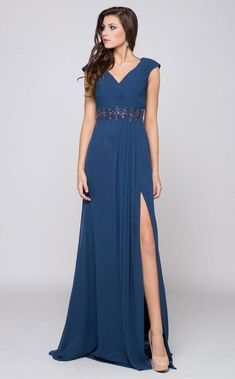 19cd083c62f Marsoni by Colors - M169 Ruched Wrap Cap Sleeve Gown   Bridesmaid Dress  (Thigh High