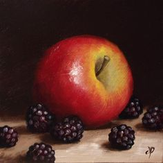 Apple with Blackberries, J Palmer Daily painting Original oil still life Art