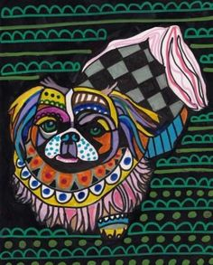 pekingese art print colorful childrens dog paintings art dog poster print of painting by heather galler hg751