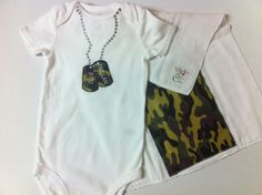 Customizable faux dogtag necklace onesie - with coordinating burp cloth - available through www.CustomfromCalista.com