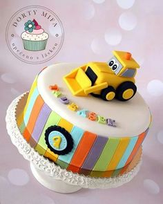 Digger Cake by Mifa Toddler Birthday Cakes, Baby Boy Birthday Cake, Truck Birthday Cakes, Fancy Cakes, Cute Cakes, Cake Designs For Kids, Digger Cake, Novelty Cakes, Cakes For Boys