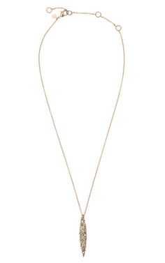 Crystal Encrusted Rose Gold Short Spear Pendant - Alexis Bittar