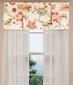 For The Kitchen Window Over The Sink: Jacobean Floral Pleated Valance From  Country Curtains.