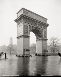 Arch in Washington Square Park, New York, c1900, Vintage Photo