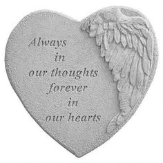 Always in Our Thoughts: Angel Wing Cast Stone Memorial Garden Marker $29.95