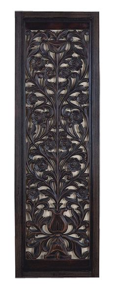 "Black Hand Carved Wood Wall panel 63""x 20"" $99.99"