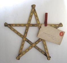 vintage folding ruler star, vintage ruler, wooden ruler, wood ruler, wood star, light yellow roller. $12.00, via Etsy.