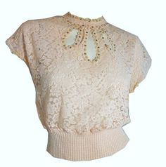 Pale Pink Lace Fitted Sweater with Cutwork and Rhinestones circa 1950s - Dorothea's Closet Vintage