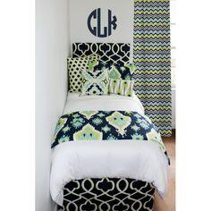custom navy ikat college dorm room bedding and monograms Designer Bed In A Bag Set