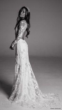 rime arodaky fall 2017 bridal long leeves v neck full embellishment elegant trumpet wedding dress keyhole back sweep train (12) sdv