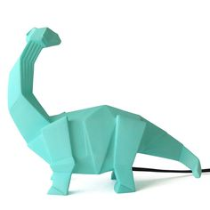 Turquoise green origami brachiosaurus dinosaur lamp by House of Disaster. This super cool lamp dinosaur lamp will be the centerpiece of any room! Cool Lamps, Unique Lamps, Unique Lighting, Light Turquoise, Turquoise Room, Origami Lights, Dinosaur Light, Disaster Designs, Dinosaurs