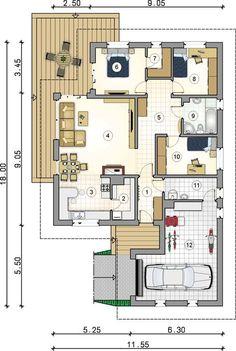 Rzut parteru - projekt Merida SZ Pool House Plans, Bungalow House Plans, Bungalow House Design, Best House Plans, Dream House Plans, Modern House Design, Contemporary House Plans, Modern House Plans, Small House Plans