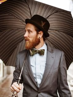 ginger beard - Trashness streetstyle camo bow tie, bowler hat