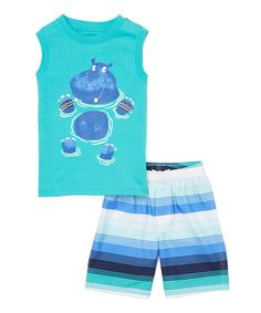 Look at this Kids Headquarters Turquoise Hippo Tank & Blue Stripe Shorts - Infant & Toddler on #zulily today!