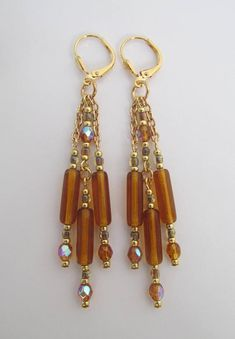 Chain Dangle Chandelier Earrings - Topaz