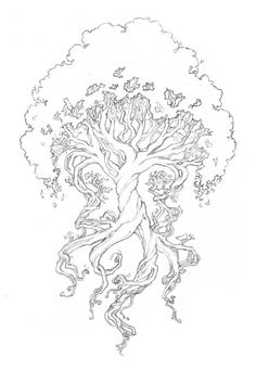 Yggdrasil a árvore da vida. Yggdrasil the tree of life. Tattoo Life, Tree Of Life Tattoos, Wisdom Tattoo, Yggdrasil Tattoo, Coloring Book Pages, Vikings, Illustration, Art Drawings, Tattoo Designs