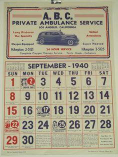 Original Vintage ABC Ambulance Calendar by HodesH on Etsy