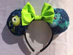 Monsters-inc Inspired Minnie Mouse Disney Ears Source Etsy Mike And Sully Costume, Diy Mickey Mouse Ears, Disney Headbands, Disney Ideas, Monsters Inc, Disneyland, Bows, Inspired, Handmade Gifts