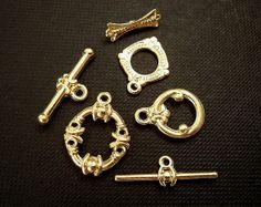 3 Gold Toggle Clasps Gold Finish 6 Pc.s Economy by EthnicBeadShop, $2.85
